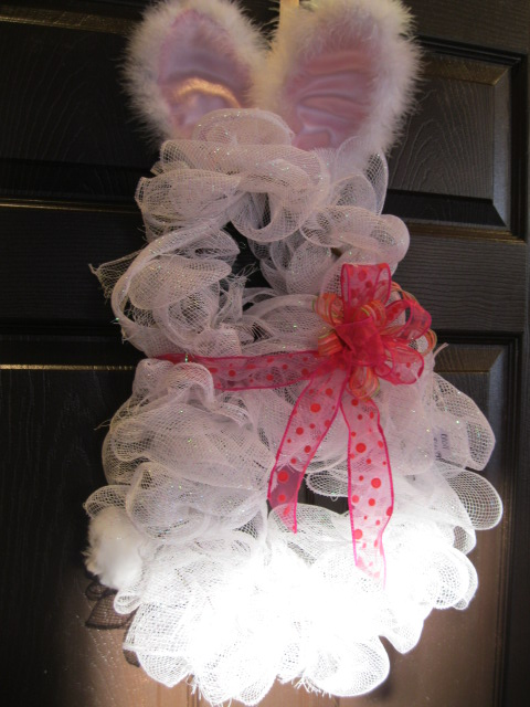 Bunny Wreath-bunny wreath, mesh ribbon wreath, mesh bunny wreath, easter wreath