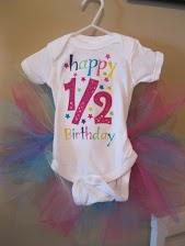 1/2 Birthday Tutu Onesie-birthday onesie, half birthday onesie, half birthday tutu, half birthday tutu onesie, half birthday shirt, personalized onesie, monogrammed onesie