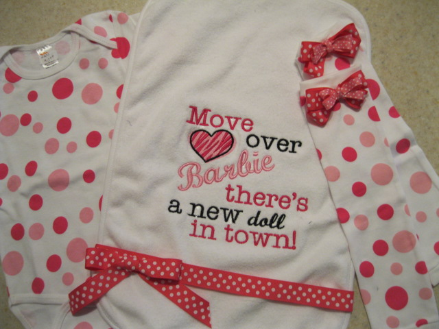 Barbie Burp Cloth-move over barbie there's a new doll in town, burp cloth, girl set, leg warmers, pink polka dot onesie