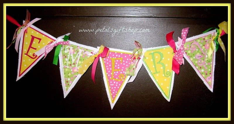 Fabric Banner 5 letters-fabric banners, birthday banners, name banners,
