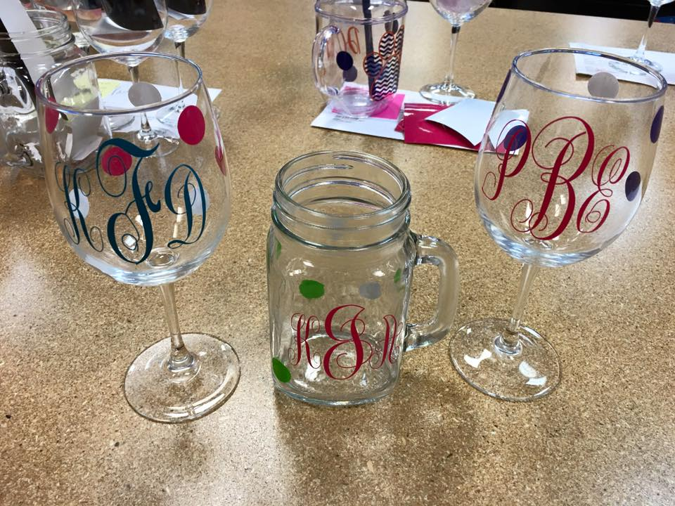 Monogrammed Glasses-vinyl wine glass, personalized wine glass