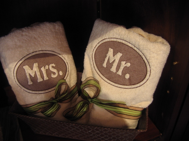 Mr mrs towels personalized towels wedding gifts for Mr and mrs spa