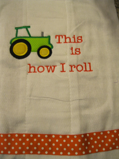 Tractor Burp Cloth-Tractor burp cloth, tractor bib, tractor onesie, custom baby item
