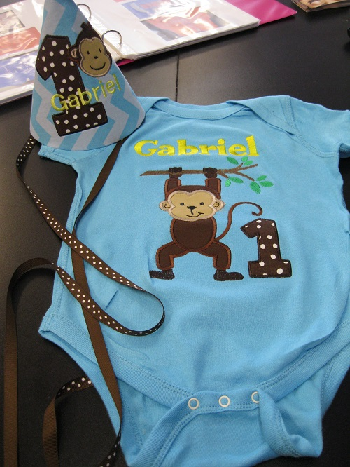 Monkey onesie and hat-boy birthday, first birthday, monkey, birthday, cute boy outfit, birthday hat