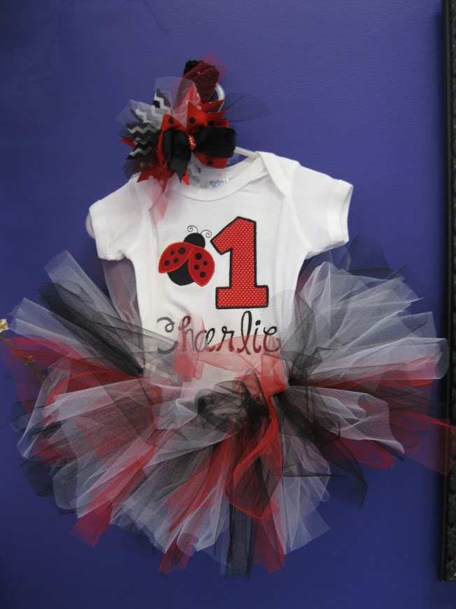Lady Bug Cuteness-lady bug, first birthday, baby clothes,