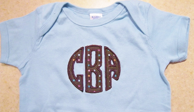 Circle Monogram Applique Onesie
