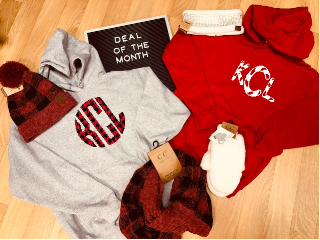 Candy Cane or Buffalo Plaid initials