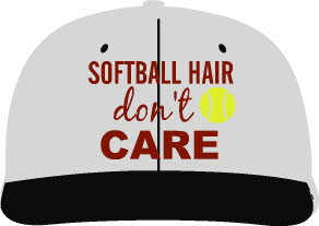 Softball hair don't care hat-