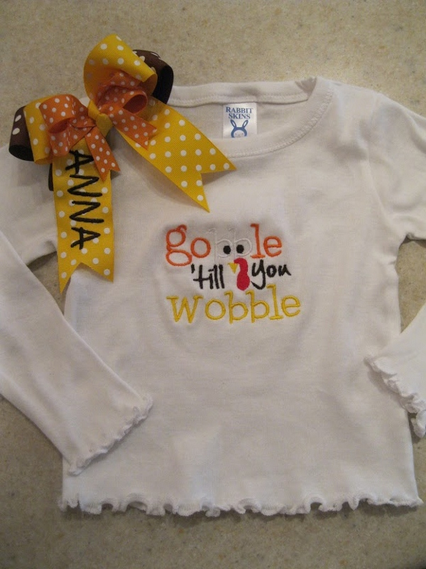 Gobble Shirt-thanksgiving personalized shirt and bow