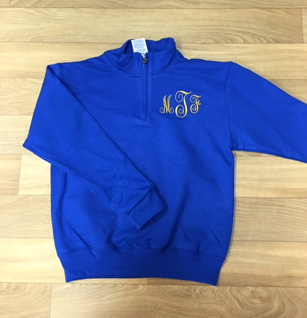 1/4 zip with monogram